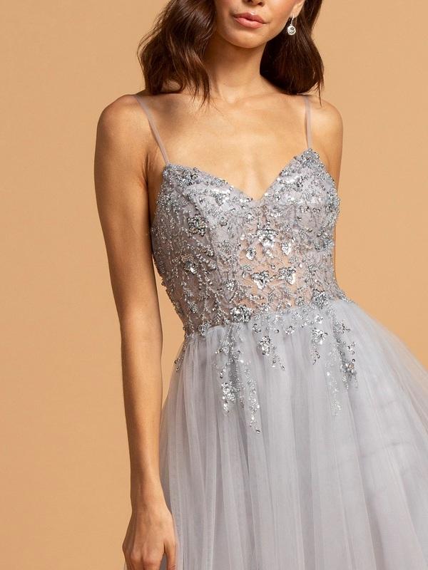 Abendkleid Franceska Silber Kaufen Viviry Abendkleider