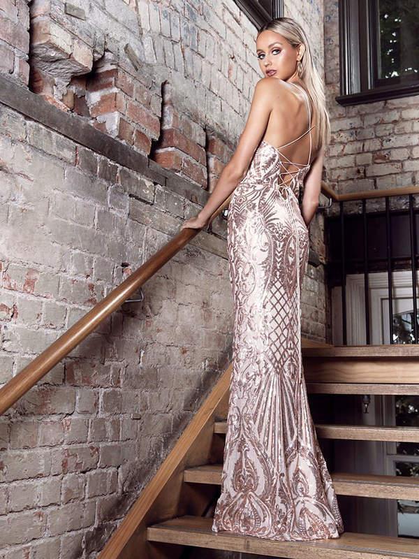 Paillettenkleid Nadia Gold Bei Viviry Kaufen
