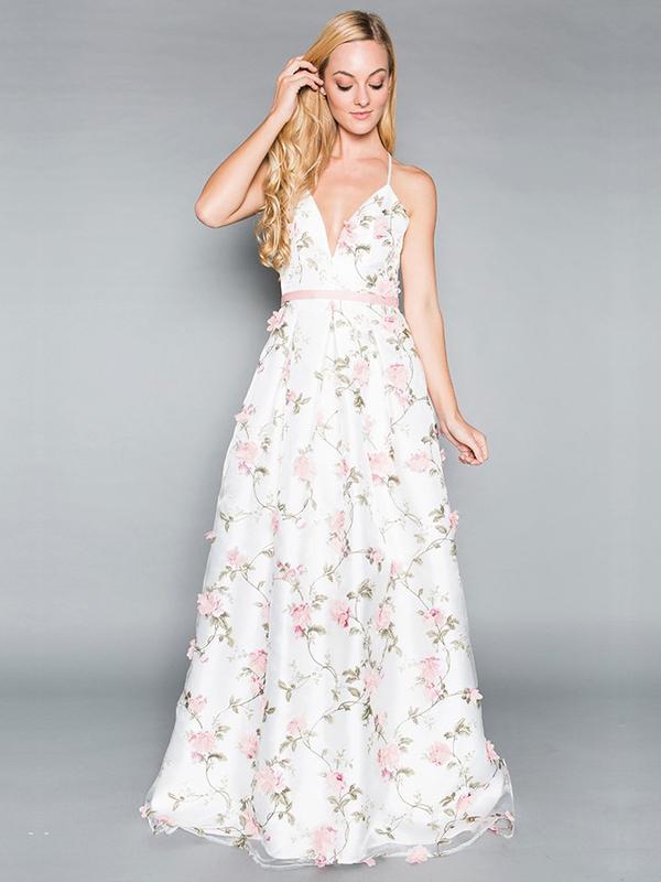 Abendkleid Melody Rosa-Weiß kaufen| VIVIRY Abendkleider