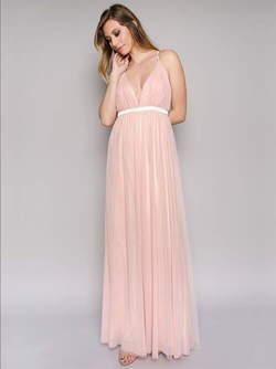 Abendkleid rosa eng
