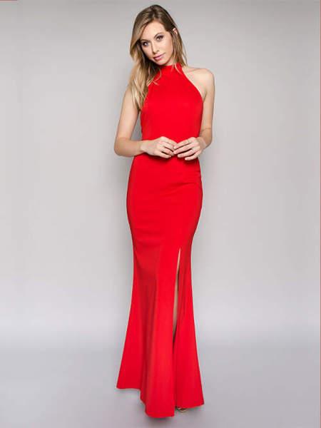 Abendkleid rot lang schlitz